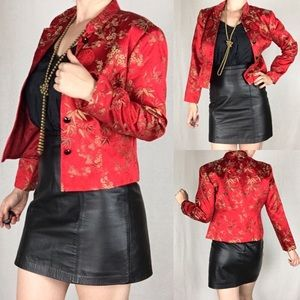 MSK Petite Silk Chinese Embroidered Floral Jacket